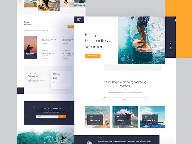 Surfing Courses Landing Page google blue exploration new 2018 fresh ui minimal training beach sea ui landing page surfing