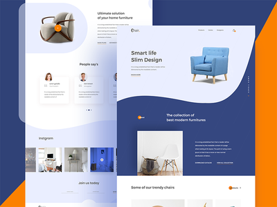 Product Landing Page (Chair) home chair clean ecommerce color creative furniture product landing page web ux ui
