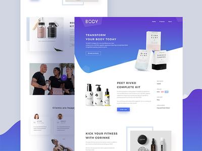 Product Landing Page Concept app minimal fitness body landing page product web color gradient shape ux ui