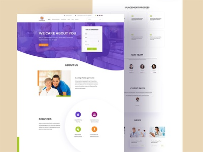 Caring agency Landing page 02 shape color home landing page caring hospital agency web doctor old age user interface bubble
