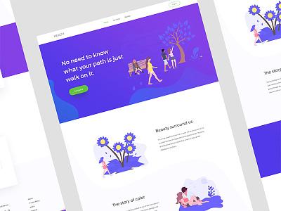 Health Landing Page blog walk creative minimal illustration color gradient ux ui web landing page health