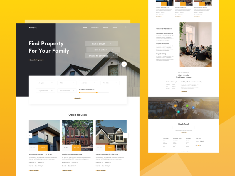 Real Estate Homepage Concept ux estimate buy sell landing page properties search theme color agency real estate ui