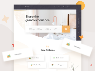 Landing Page(Hotels) ui hotel trending trend 2018 landing page 2018 web design user interface color minimal creative web