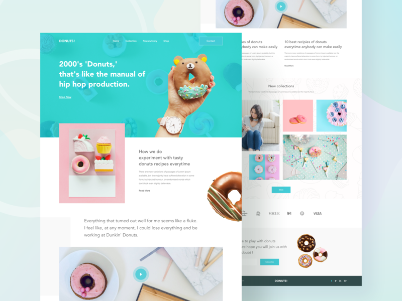 Donuts Web UI pestry food and beverage web 2019 design donuts color food donut creative landing page