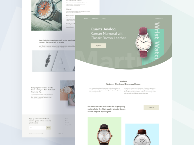 Watch Retailer UI concept minimal 2019 trend web product watch design clean user interface color creative landing page
