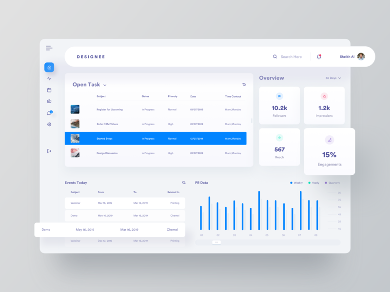 CRM Dashboard UI 2019 design idea admin panle sidebar dashboard design dashboard user interface creative ux