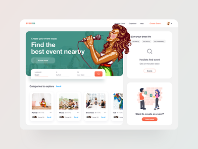 Event Web UI dashboard design 2019 clean minimalist website dashboard ui illustration cartoon catagorycart search color managment event eventmanager webapplication web dashboard