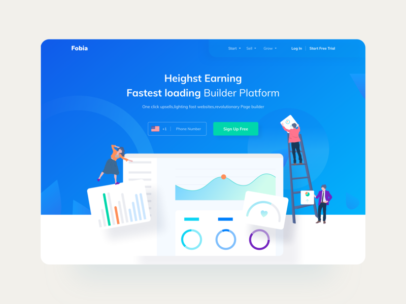 Web Header Exploration creative web website design page layout dashboard gradient color typography webpage landingpage oval elipse page design glossy clean blue colors illustration header website pagebuilder