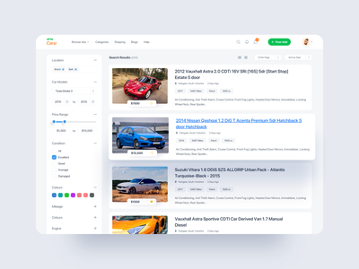 Classified Car Web UI appdesign apps webapps webapplication user interface ux colors filters 2019 clean ui ui webdesign classified ads platform sell card website adsense classifieds