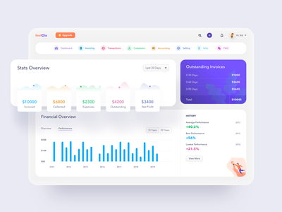 Invoice Generator UI 02 ui design radious clean website web dashboard design dashboard history financial navbar chart graphic web applications web application webapps uiux ui