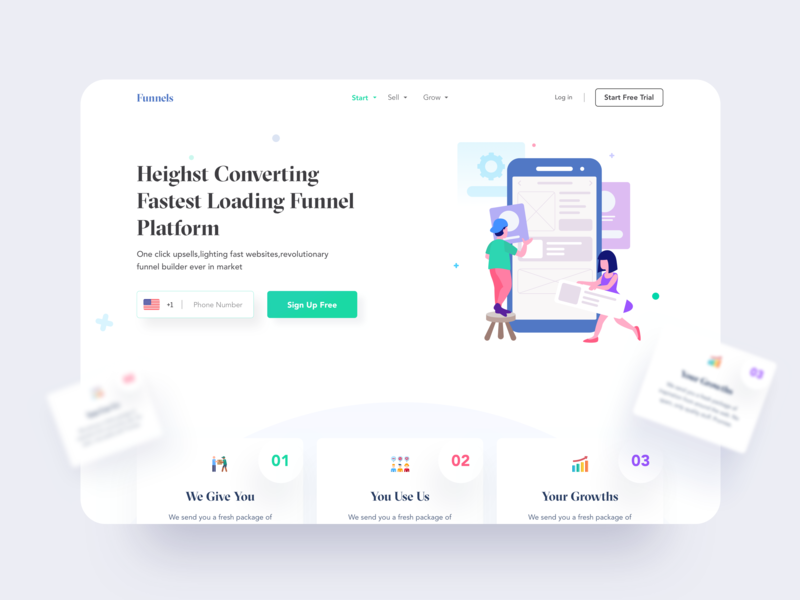 Builder Web UI shapes white hiwow user interface shadow header wip platform cart colors illustration minimal clean ui funnel page builder website builder website design website web