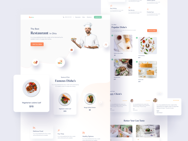 Restaurant Web UI chef foodweb restaurants website ui ux minimal vector design agency web design user interface clean creative landing page web