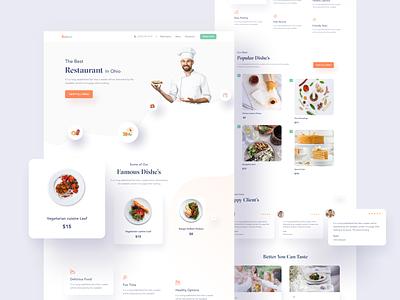 Restaurant Web UI chef foodweb restaurants website ui ux minimal vector design agency web design user interface clean creative landing page web