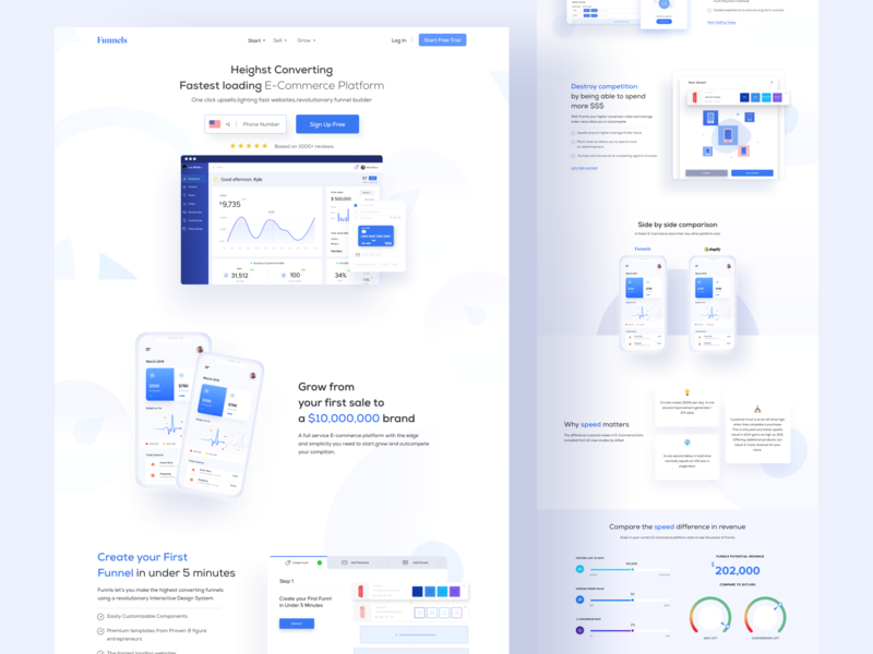 Website Builder landing page design homepage landingpage 2019best business dashboard blue white minimal clean shopify ecommerce builder uidesign uiux website builder website