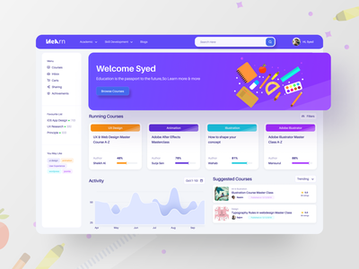 Elearning Platform UI webapplication webapp illustration syedraju filter sorting search ofspace popular tags course ux colorfull dashboard website education learning elearning