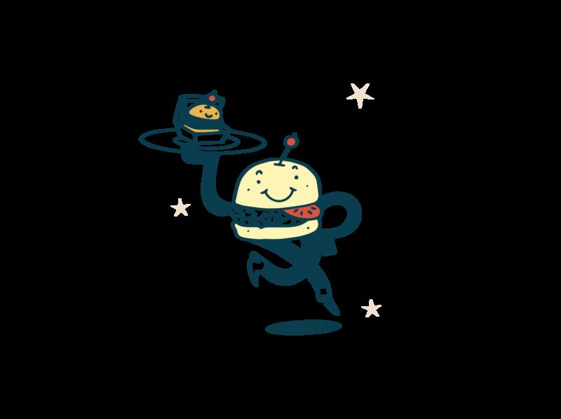 Happy Burguer branding character design procreate illustration