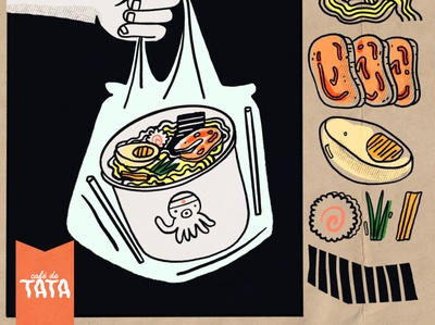 Ramen To Go flyer design flyer sushi togo ramen design procreate illustration