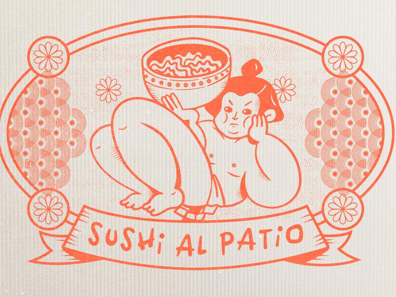 Sushi Sello japan sushi stamp design stamp branding logo character design procreate illustration
