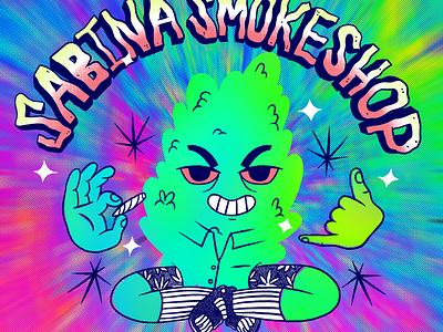 Sabina SmokeShop weed logo logo design logo shop kush smoke weed character procreate illustration