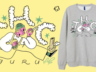 THC Guru merch design character design procreate illustration sweatshirt weed thc