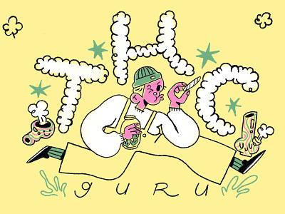 THC GURU merch design thc weed branding character design procreate illustration