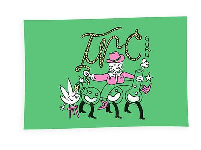 TCH Guru merch design thc weed flag character design procreate illustration