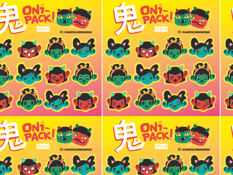 Stickers emoji faces girl japan demon oni sheet stickers