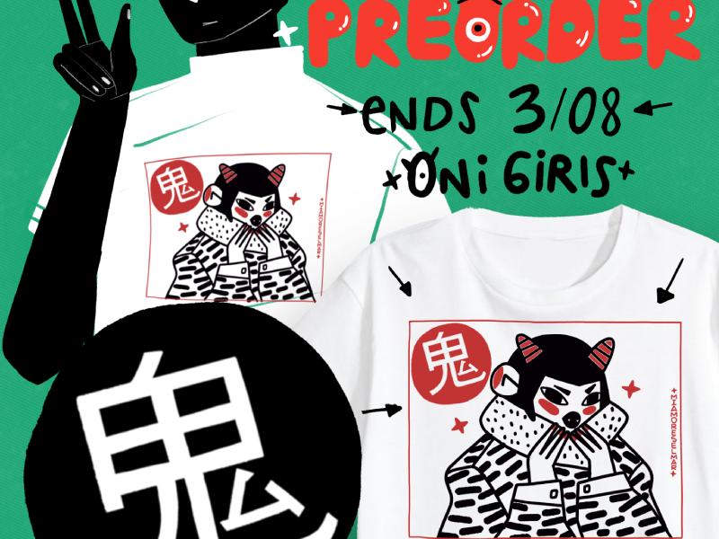 Oni Tshirt japanese japan girl design preorder tshirt demon oni
