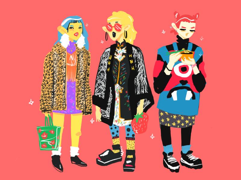 Tokyo Fashion Week Fall 2018 illustration girls clothing texture streetstyle japan procreate tokyo fashion