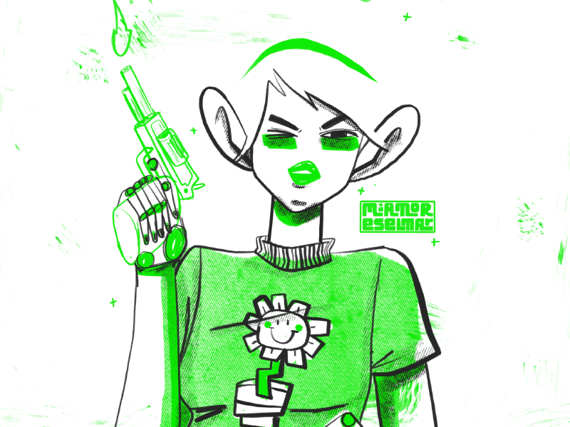 Kerplunk halftone texture flower girl gun pistol greenday band procreate