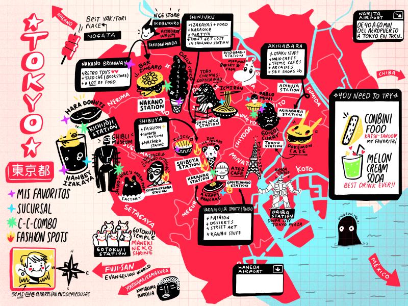 Tokyo Map by Me travel city maps food illustation map japan tokyo