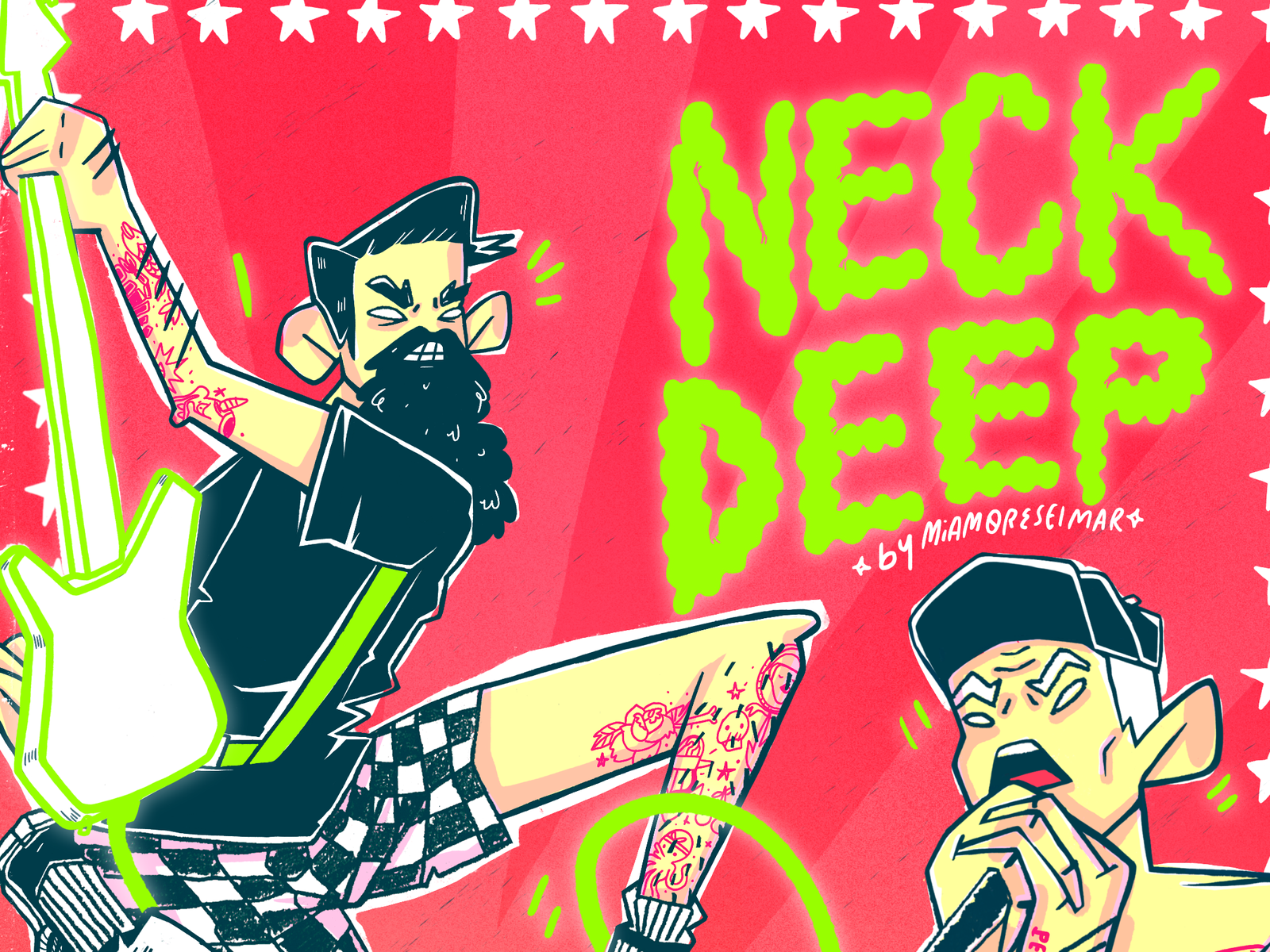 Neck Deep Procreate Lettering Illustration Fanart Cartel Music Digitalart Charactedesign Punk Rock Band Poster