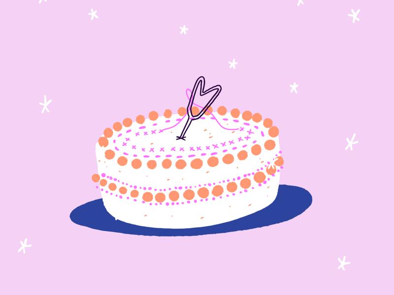 Cake pastel girly pink embroidery birthday cake design logo procreate illustration