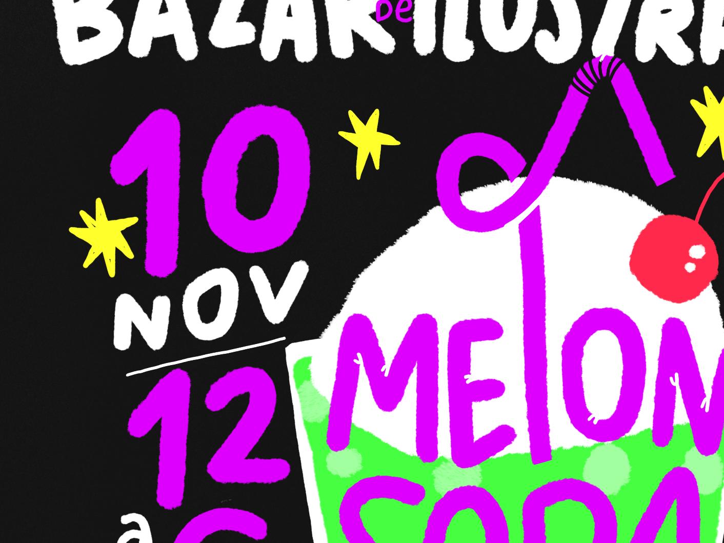 Soda Lettering procreate design texture illustration festival japan melon cartel add poster lettering soda