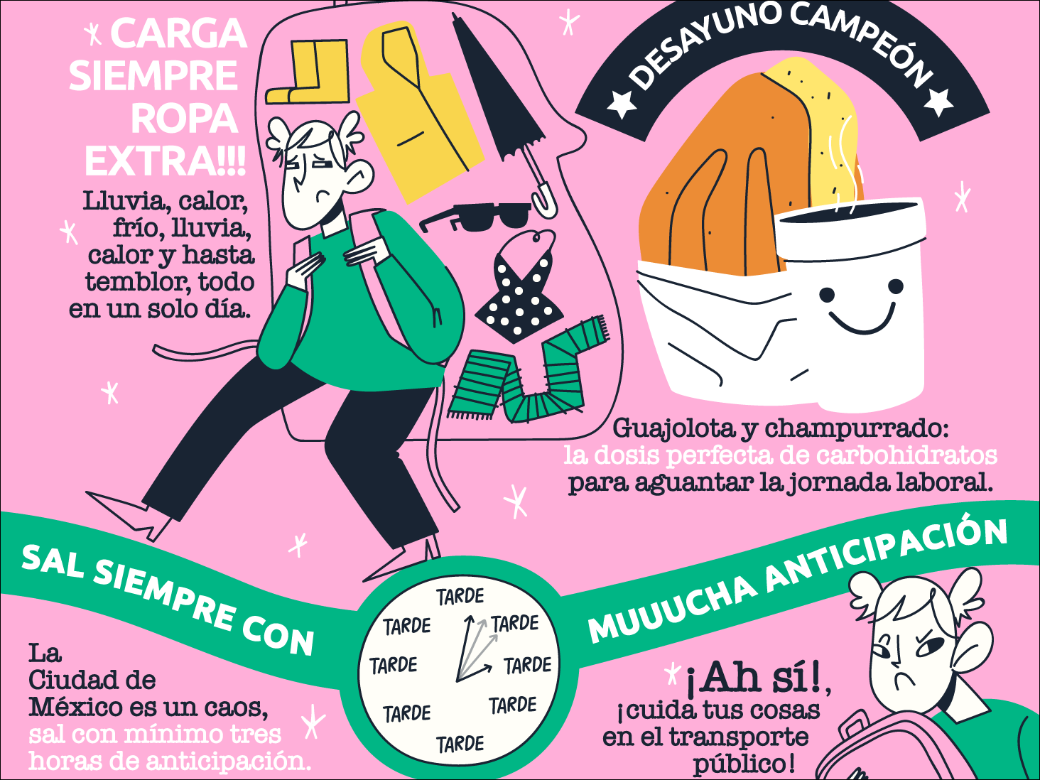 Survival Guide (Mexico City) mexico city pink info graph roomie design girl roomies illustration