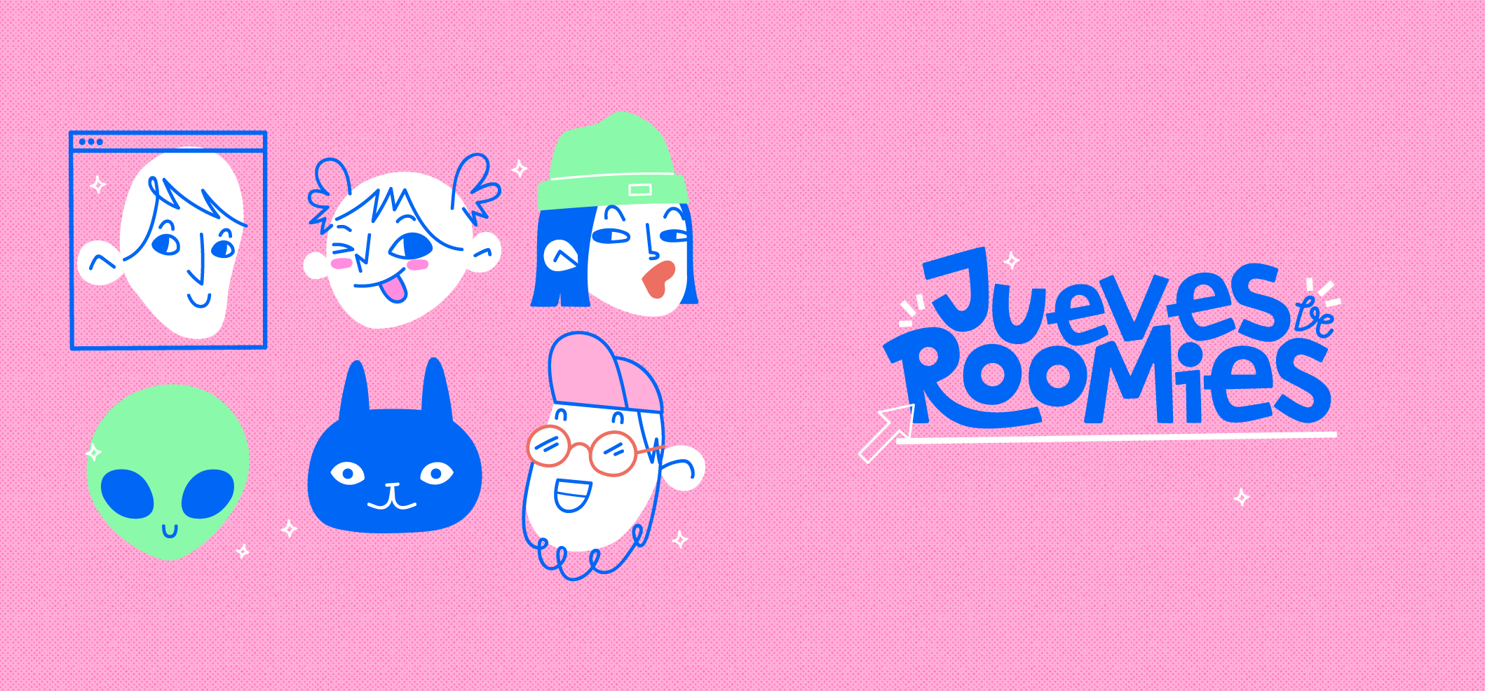 Characters logo character texture friends roomie design girl roomies illustration