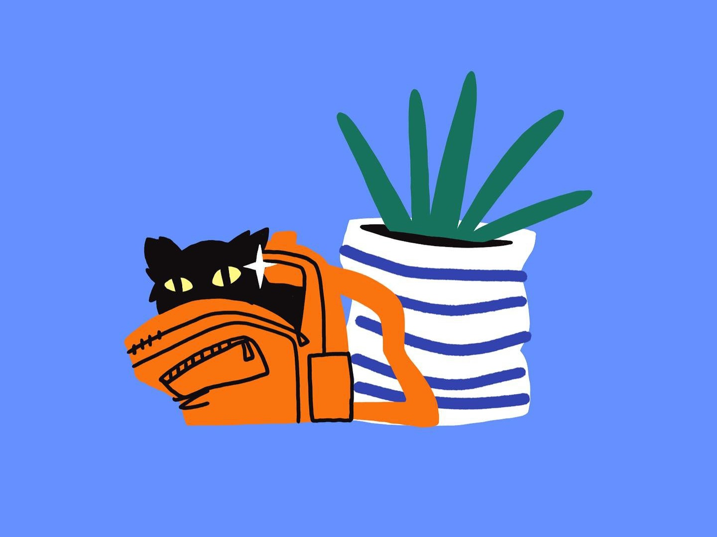 Moving cat character roomies design procreate illustration
