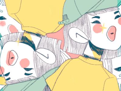 Texture halftone japan texture girl character design procreate illustration