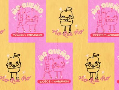 Ño Que Ño typography branding lettering logo texture friends character design procreate illustration