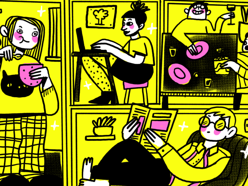 Coliving halftone friends texture roomie roomies character design procreate illustration