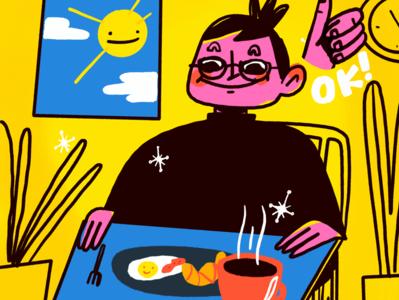 Breakfast character design procreate illustration