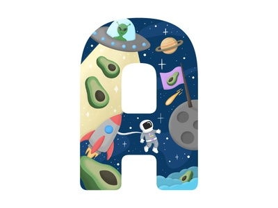 A for alien, avocado and astronaut