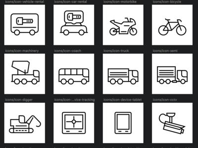 Vehicle tracking icons set