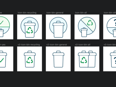 Waste collection icons set