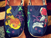 Koi fish on used TOMS shoes