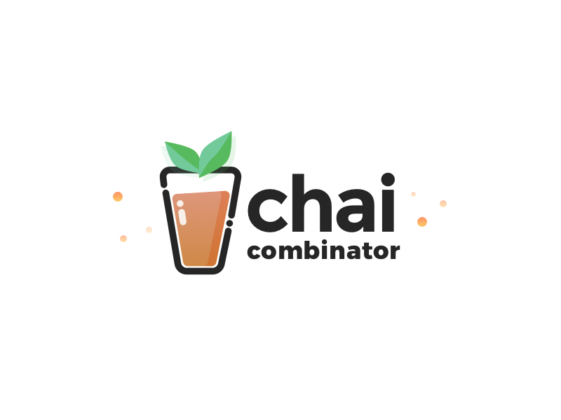 Chai Combinator Logo startup branding illustration icon logo particles drink leaves tea chai