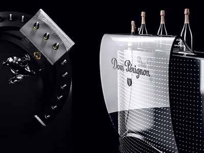 Brand zone Dom Pérignon 2 3d light black render 4d dom perignon