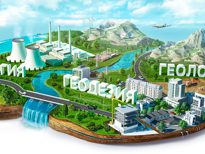 Illustration for geodesy website geo nature technology city river geodesy geology build road psd
