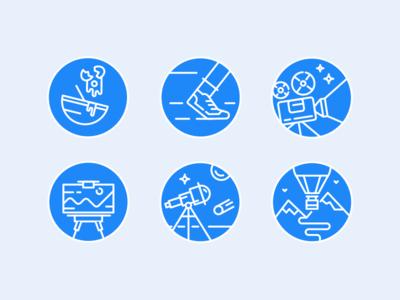 Icon App Salute! set pen art travel food run space cinema icon