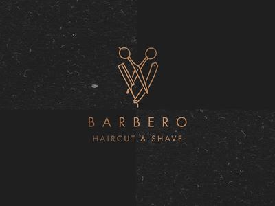 Barbero logo barbershop cut line shave haircut logo logotype